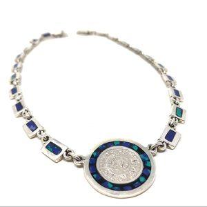 TAXCO Sterling/malachite/lapis Aztec necklace